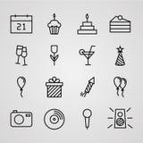 Iconos del cumpleaños fijados Imagenes de archivo