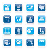 Iconos del cumpleaños y del partido Imagen de archivo libre de regalías