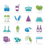 Iconos del cumpleaños y del partido Foto de archivo libre de regalías