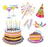 Iconos del cumpleaños Foto de archivo libre de regalías