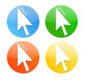 Iconos del cursor con el World Wide Web de WWW Fotografía de archivo libre de regalías