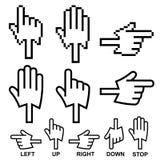 Iconos del cursor de la mano de la dirección Fotos de archivo libres de regalías