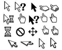 Iconos del cursor del pixel en blanco y negro Imagen de archivo