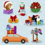 Iconos del día de fiesta de la Navidad y del Año Nuevo Foto de archivo