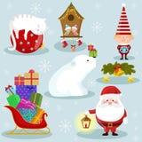 Iconos del día de fiesta de la Navidad y del Año Nuevo ilustración del vector