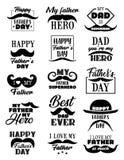 Iconos del día de fiesta del día de padres del vector, poniendo letras