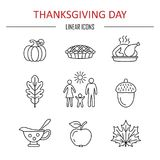 Iconos del día de la acción de gracias stock de ilustración