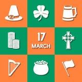 Iconos del día de St Patrick Imagen de archivo libre de regalías