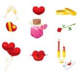 Iconos del día de tarjetas del día de San Valentín Imágenes de archivo libres de regalías