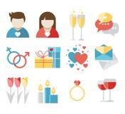 Iconos del día de tarjetas del día de San Valentín stock de ilustración