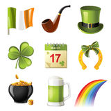 Iconos del día del St. Patrick Imagen de archivo libre de regalías