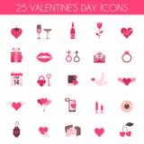 Iconos del día y de la boda de la tarjeta del día de San Valentín Imagenes de archivo