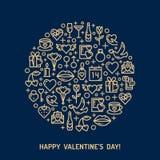 Iconos del día y de la boda de las tarjetas del día de San Valentín Imágenes de archivo libres de regalías
