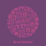Iconos del día y de la boda de las tarjetas del día de San Valentín Imagen de archivo libre de regalías