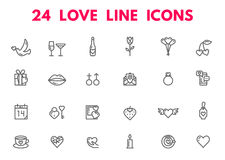 Iconos del día y de la boda de las tarjetas del día de San Valentín Imagen de archivo