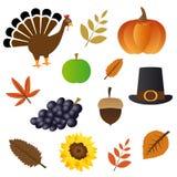 Iconos del día de la acción de gracias Imagenes de archivo