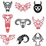 Iconos del demonio y del monstruo Fotos de archivo libres de regalías