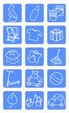 Iconos del departamento del bebé Imágenes de archivo libres de regalías
