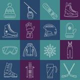 Iconos del deporte de invierno fijados Fotos de archivo