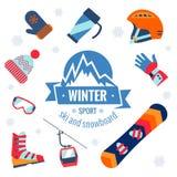 Iconos del deporte de invierno fijados Foto de archivo libre de regalías