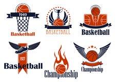 Iconos del deporte del baloncesto con los artículos del juego ilustración del vector