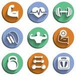 Iconos del deporte del levantamiento de pesas de la aptitud fijados Imagenes de archivo