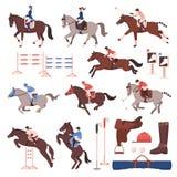 Iconos del deporte ecuestre fijados stock de ilustración