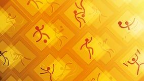 Iconos del deporte en un fondo amarillo Fotos de archivo libres de regalías