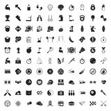 Iconos del deporte 100 fijados para el web Imagen de archivo libre de regalías