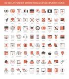 Iconos del desarrollo de márketing de Internet stock de ilustración