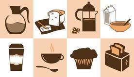 Iconos del desayuno Imagen de archivo libre de regalías