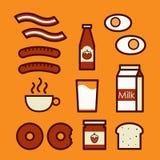 Iconos del desayuno, ejemplo. Imagen de archivo libre de regalías