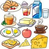 Iconos del desayuno fijados ilustración del vector
