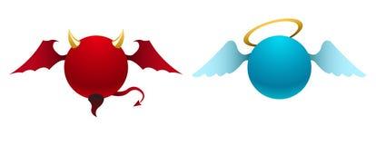 Iconos del diablo y del ángel del vector