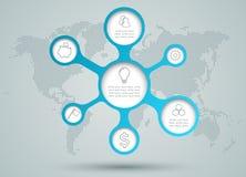 Iconos del diagrama del círculo de Infographic con Dots World Map Back Drop Imágenes de archivo libres de regalías
