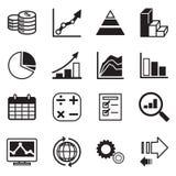 Iconos del diagrama y de los gráficos fijados Foto de archivo
