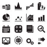 Iconos del diagrama y del gráfico de la silueta Imágenes de archivo libres de regalías