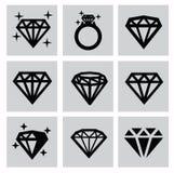 Iconos del diamante stock de ilustración
