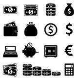 Iconos del dinero, de las actividades bancarias y de las finanzas Foto de archivo
