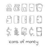 Iconos del dinero del drenaje de la mano Colección de muestras lineares de dólares y de centavos ilustración del vector