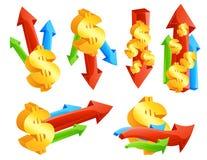 Iconos del dinero en circulación Fotos de archivo