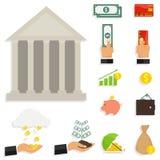Iconos del dinero, un sistema de billetes de banco Sistema del compuesto de dinero stock de ilustración