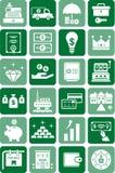 Iconos del dinero y de las finanzas Fotografía de archivo libre de regalías