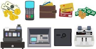 Iconos del dinero y de las finanzas Imágenes de archivo libres de regalías