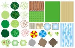Iconos del diseño del jardín stock de ilustración