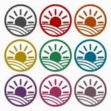 Iconos del diseño del logotipo de los campos fijados stock de ilustración