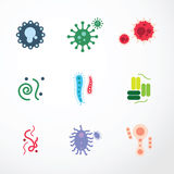 Iconos del diseño del color del virus del vector Foto de archivo