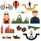 iconos del diseño del tema extremo del deporte Foto de archivo libre de regalías