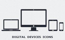 Iconos del dispositivo fijados: smartphone, tableta, ordenador portátil y equipo de escritorio Ejemplo del vector del diseño web  stock de ilustración