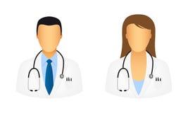 Iconos del doctor stock de ilustración